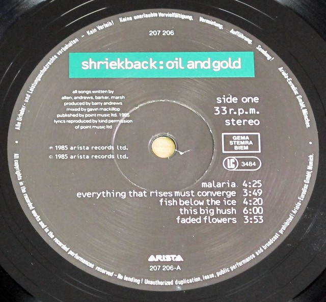 "SHRIEKBACK OIL AND GOLD 12"" LP VINYL"
