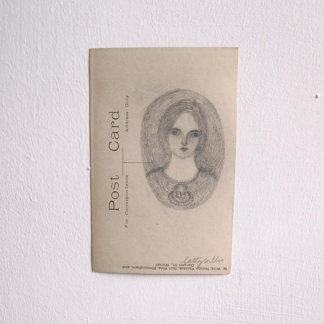 pencil portrait on vintage postcard