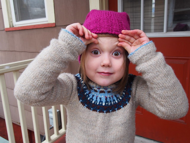 "She got really into the whole ""knitwear modeling"" thing!"