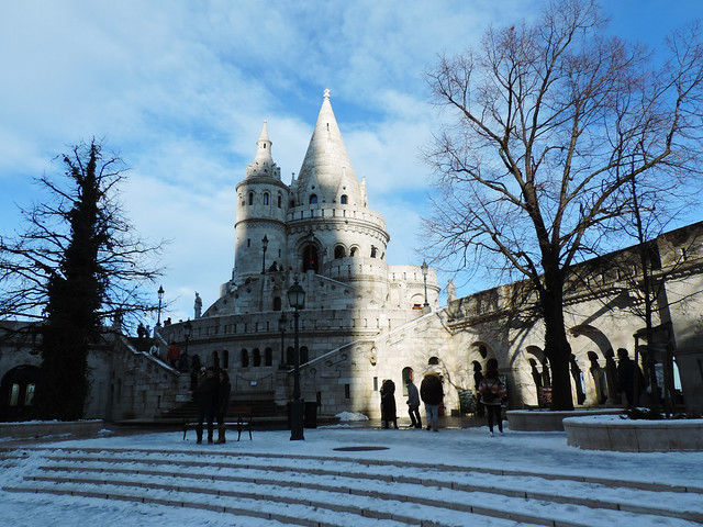 Fisherman's Bastion in the frozen Budapest, Hungary