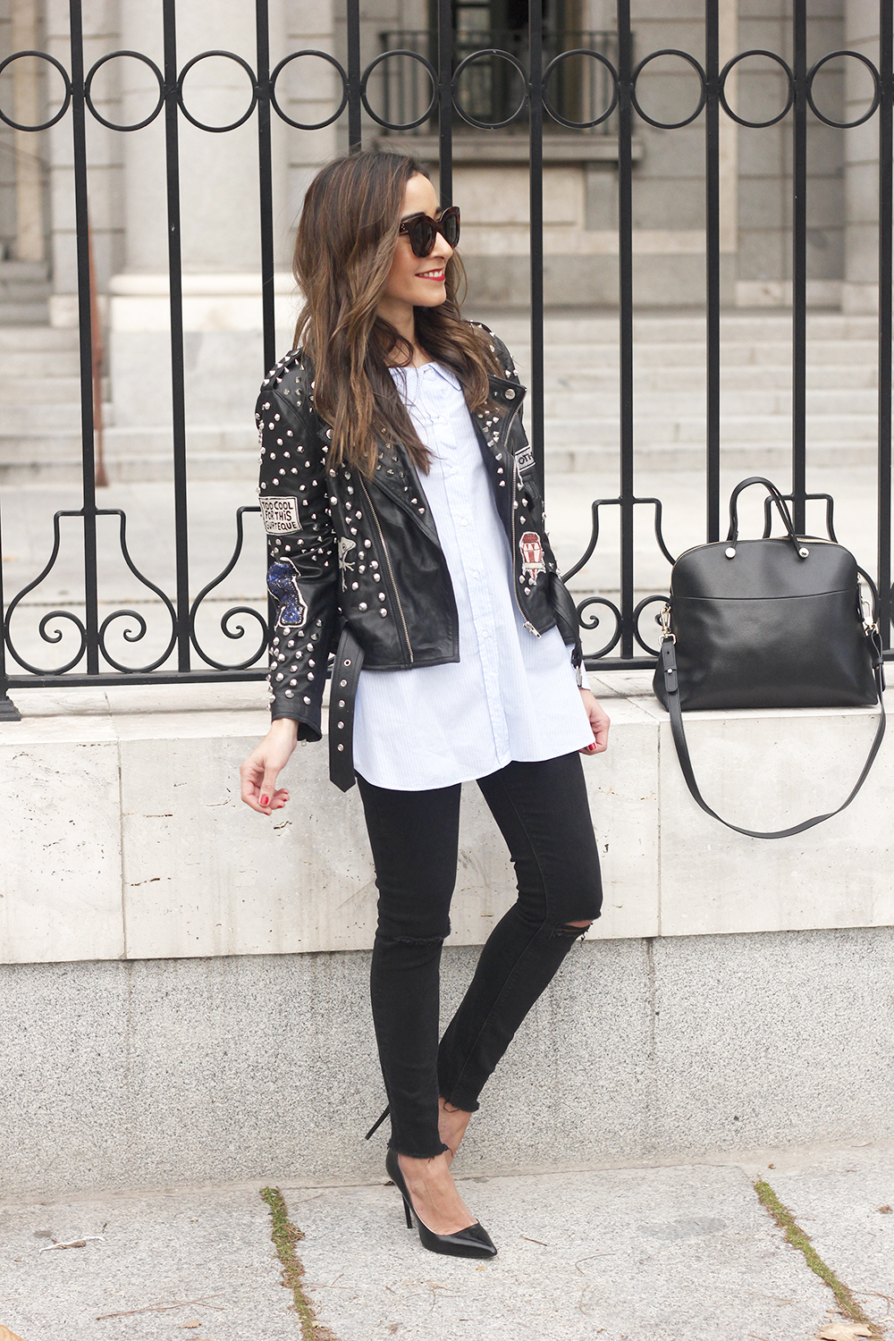 Leather Jacket With Studs And Patches ripped jeans heels furla bag céline sunnies15