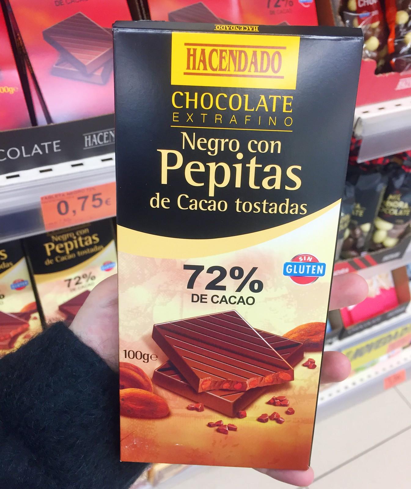 chocolate con pepitas de cacao hacendado