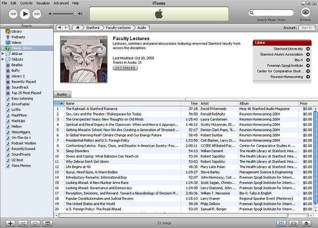 how to find stanford in itunes