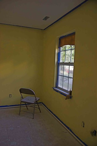 Newly painted room plus folding chair plus window equals for 1 plus 1 equals window