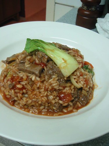 Red Wine Risotto with Beef & Bok Choy | I bet Jamie Oliver d ...