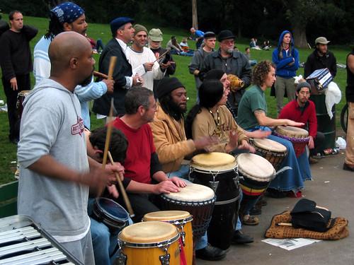 Drum Circle, Hippy Hill, Golden Gate Park, San Francisco ...
