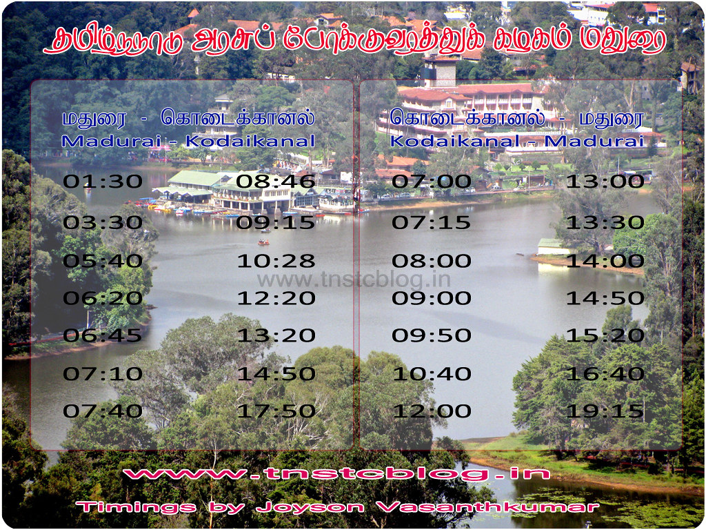 Madurai Kodaikanal Timings