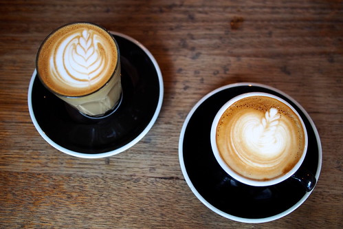 Flat White Coffee and Brunch in Melbourne: Brother Baba Budan (359 Little Bourke Street) - latte and flat white