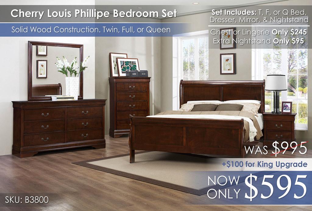Homelegance Cherry Louis Phillipe Bedroom Set B3800
