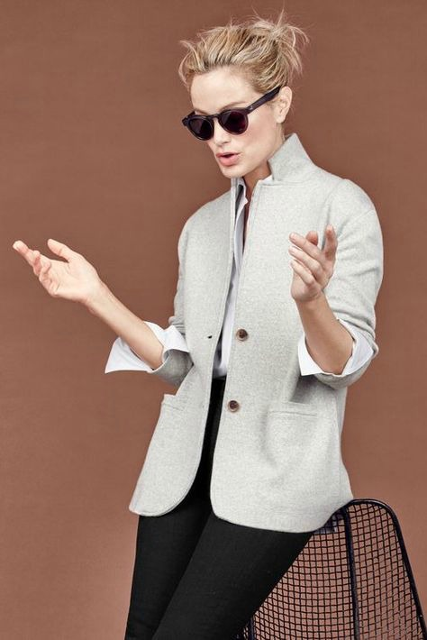 J.Crew gray merino sweater blazer