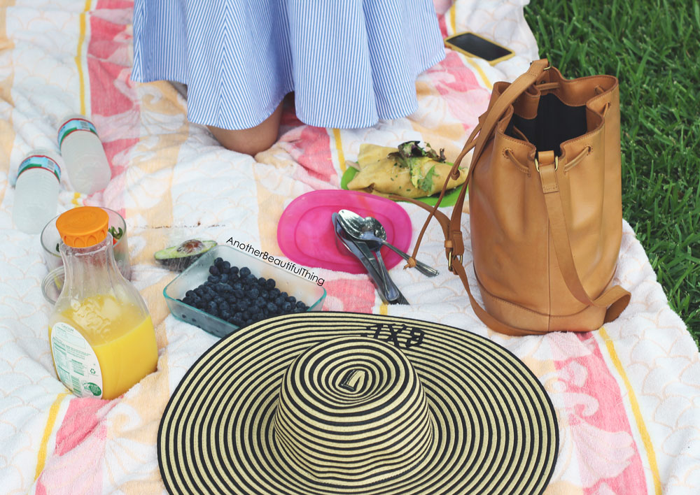 Striped monogram hat and sunday picnic outfit