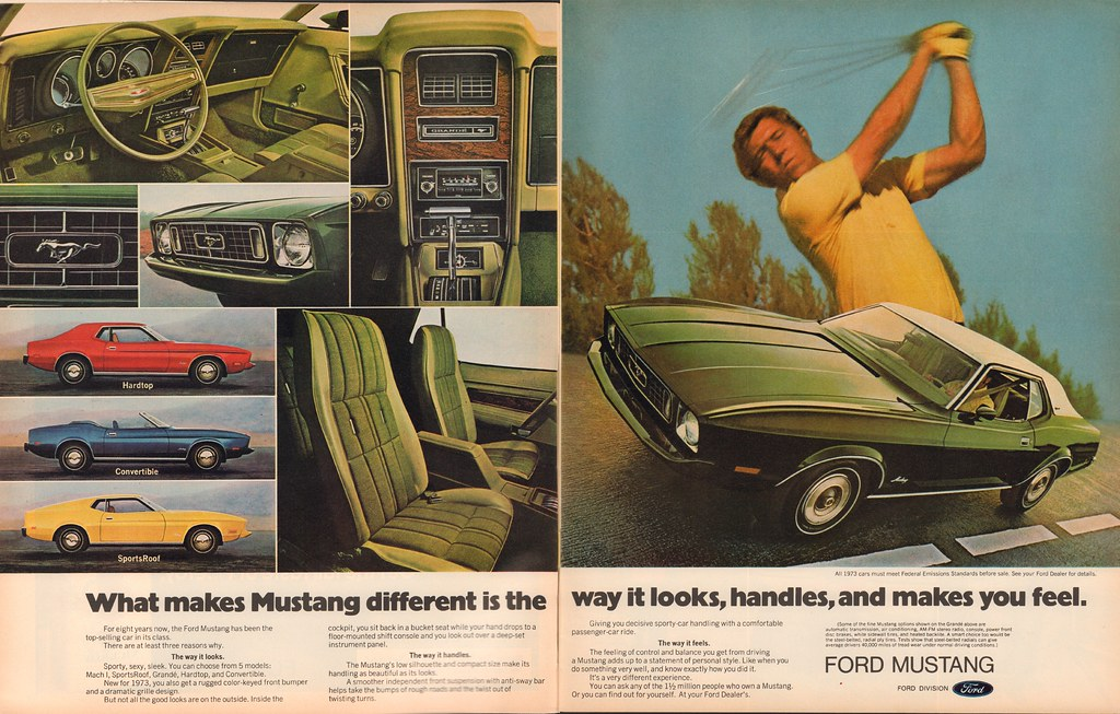 1973 Ford Mustang Advertisement Life Magazine October 13 1