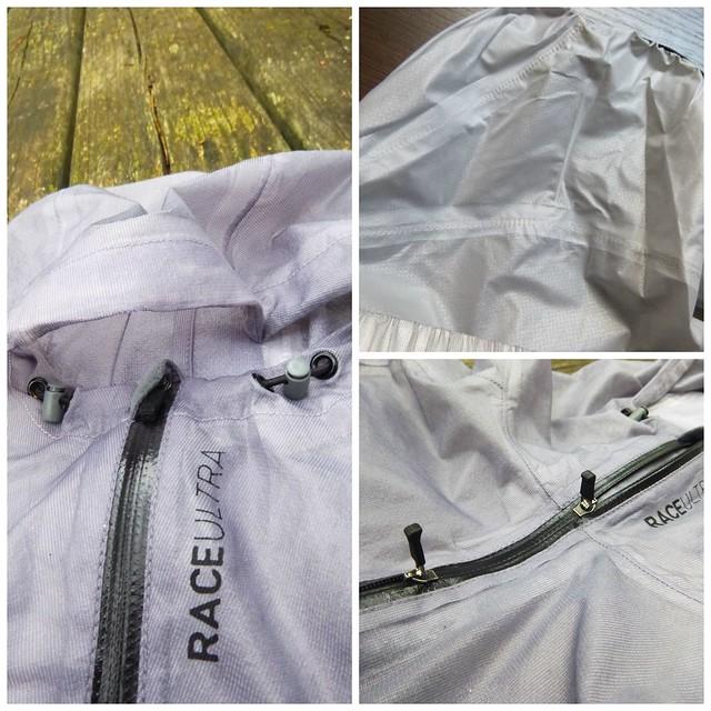 Τα κλιπς και το εύκαμπτο σύρμα της κουκούλας (αριστερά) - Το διπλό φερμουάρ από θερμοπλαστική πολυουρεθάνη (δεξιά κάτω) και η λεπτή αδιάβροχη ταινία στα σημεία συραφής του ρούχου (δεξιά πάνω).