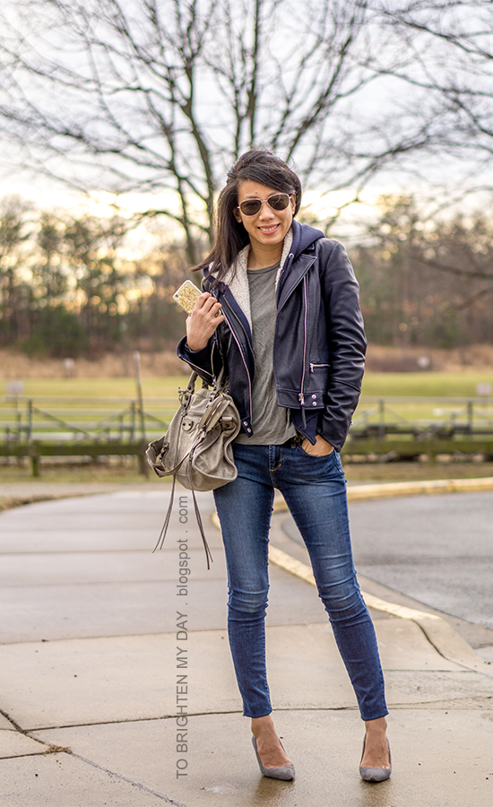 black leather jacket, navy hoodie sweatshirt with sherpa lining, gray tee, skinny jeans, gray suede pumps