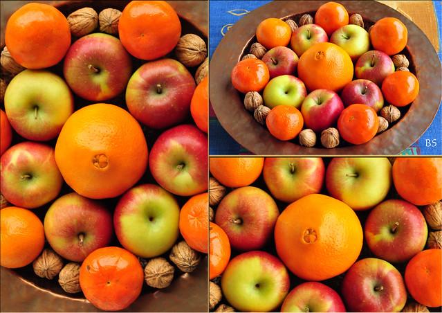 Weihnachten ... Vitamine ... Vitaminbomben ...Äpfel, Orangen, Mandarinen, Nüsse ... Foto: Brigitte Stolle