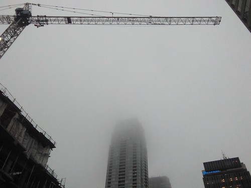 Winter fog, Yonge and Eglinton #toronto #yongeandeglinton #winter #fog #tower #crane