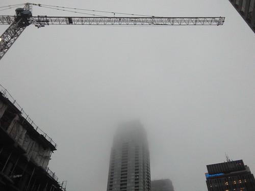 Winter fog, Yonge and Eglinton #toronto #yongeandeglinton #winter #fog #tower #crane