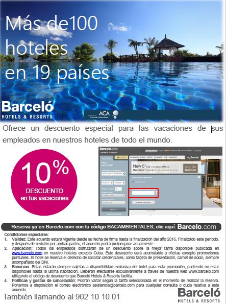 Información descuento ACA en Barceló Hoteles y Resorts