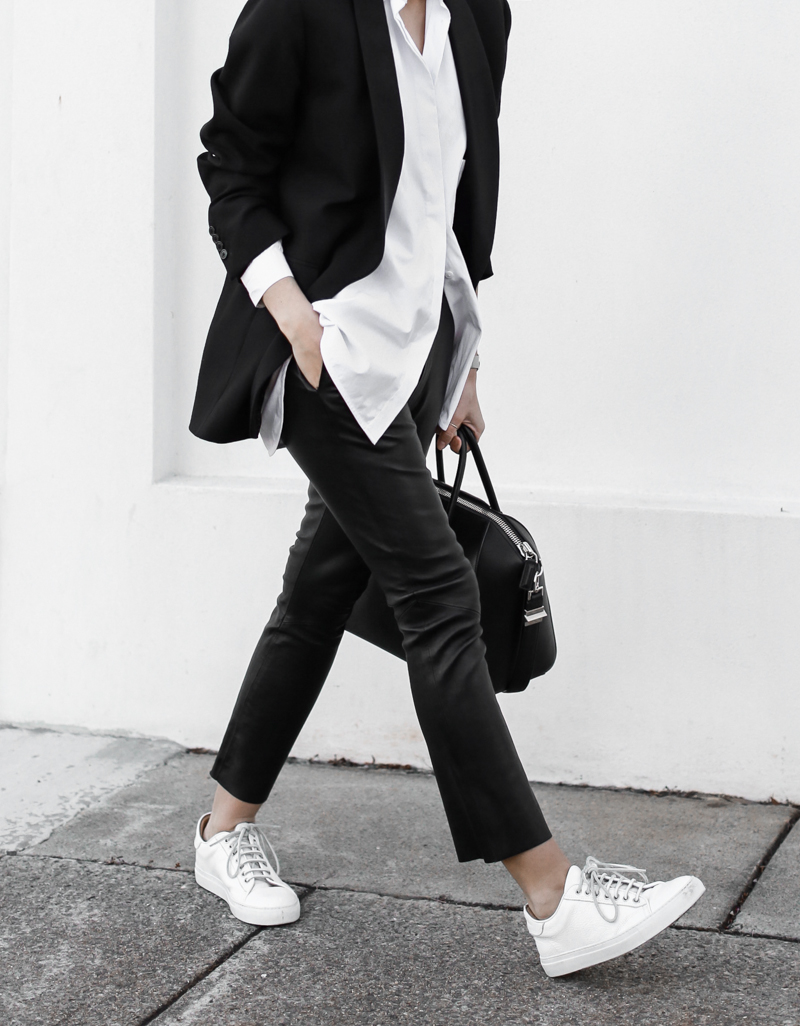 modern legacy, fashion blog, street style, white shirt, leather pants, monochrome, black and white, Bassike, sneakers, boyish, tumblr (1 of 1)