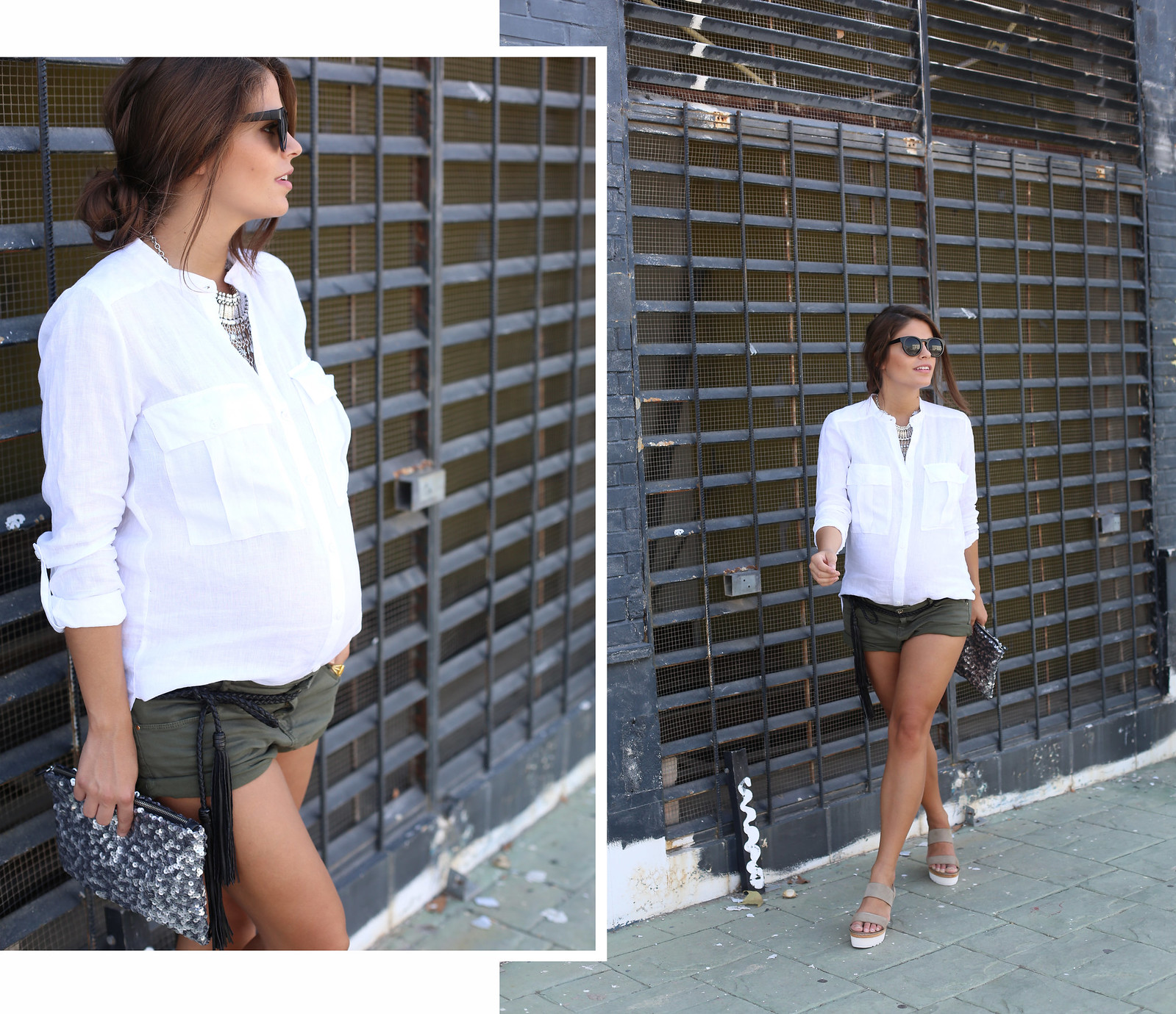 1. white linen shirt khaki shorts wedges shoes - jessie chanes - pregnancy