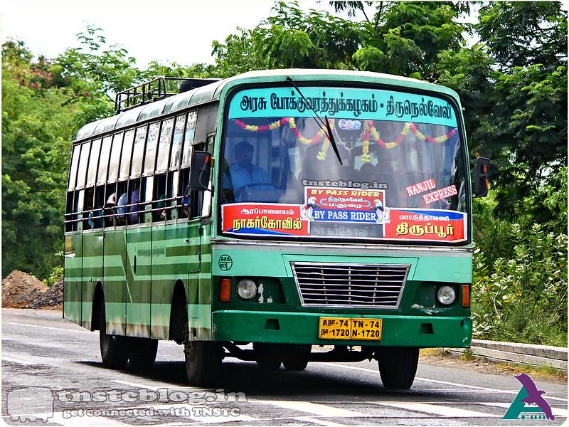 TN-74N-1720 Nanjil Express of Ranithottam 3 Depot Route Nagercoil - Tiruppur via Tirunelveli, Madurai, Ottanchatiram, Dharapuram.