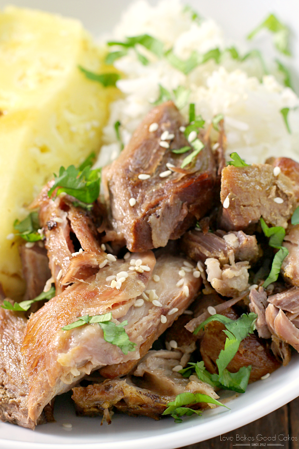 Slow Cooker Polynesian Pork close up.