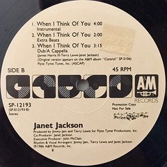 JANET JACKSON:WHEN I THINK OF YOU(LABEL SIDE-B)