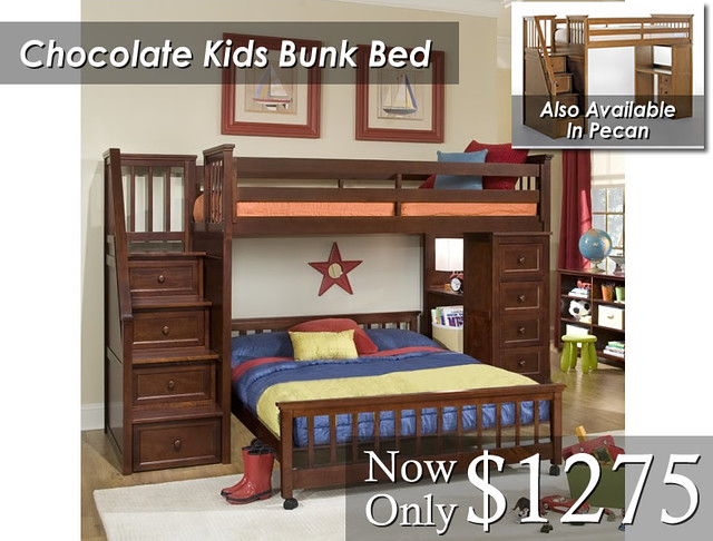 Chocolate Kids Bunk Bed