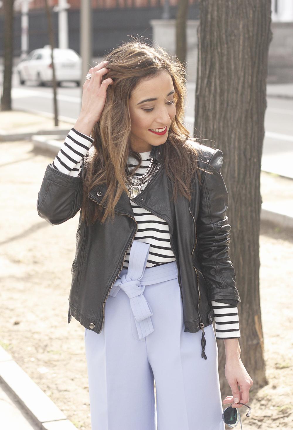 Light Blue Pallazzo pants t-shirt stripes black heels biker jacket dior so real sunglasses outfit style fashion11