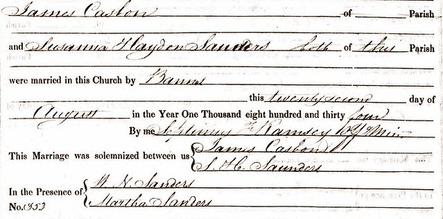 James Casbon Susanna Sanders marriage 1834 small