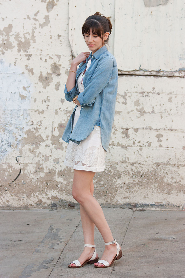J.Crew Chambray Shirt, White Dress, History and Industry Necklace