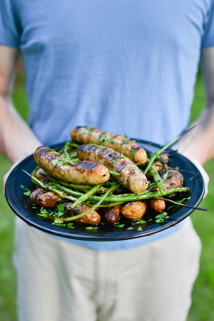 Grilled Sausage with Potatoes and Garlic Scapes | Things I Made Today