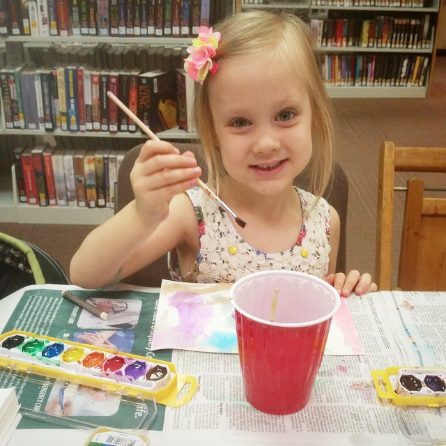 Make-a-Craft Wednesday at the library while Dylan and Lexie are at Theater Group. #summertime