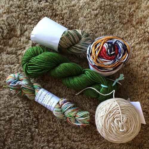 My pretties. Swap sock yarn package to make monster socks!