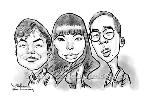 group digital caricature in black and white (watermarked)