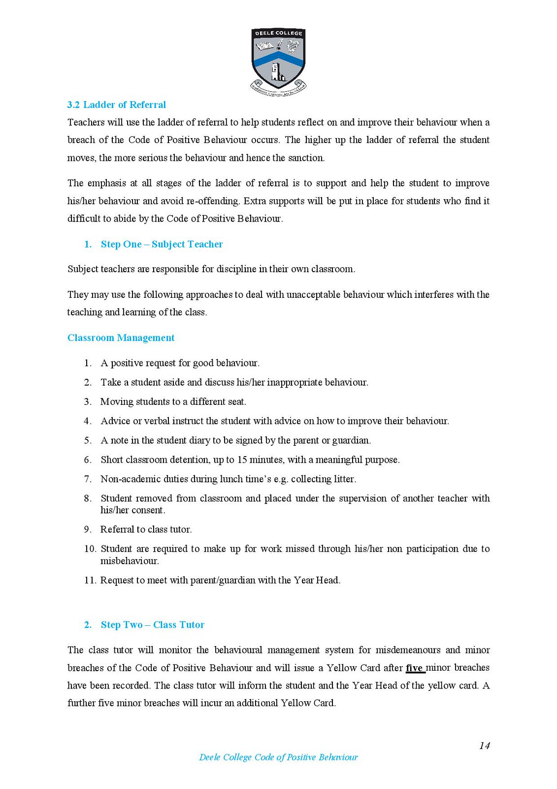Deele College Code of Positive Behaviour Booklet 2016-page-014
