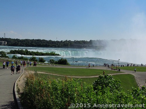 Walking down to the American viewing area over Horseshoe Falls, Niagara Falls State Park, New York