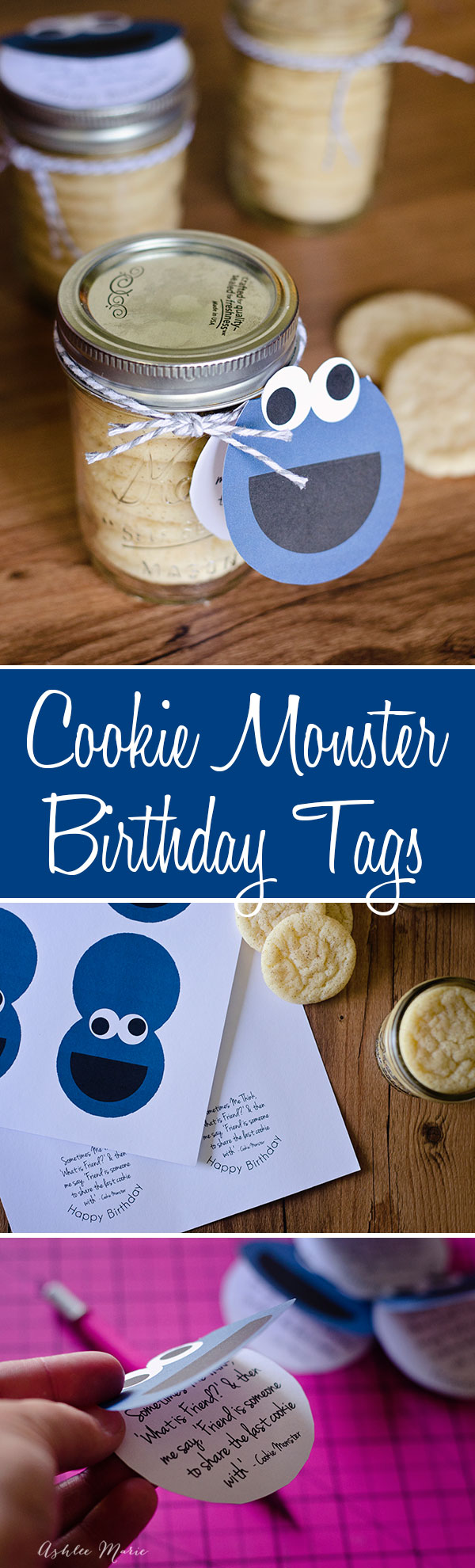 a cookie monster gift tag that you can add to cookies to give to a friend on their birthday