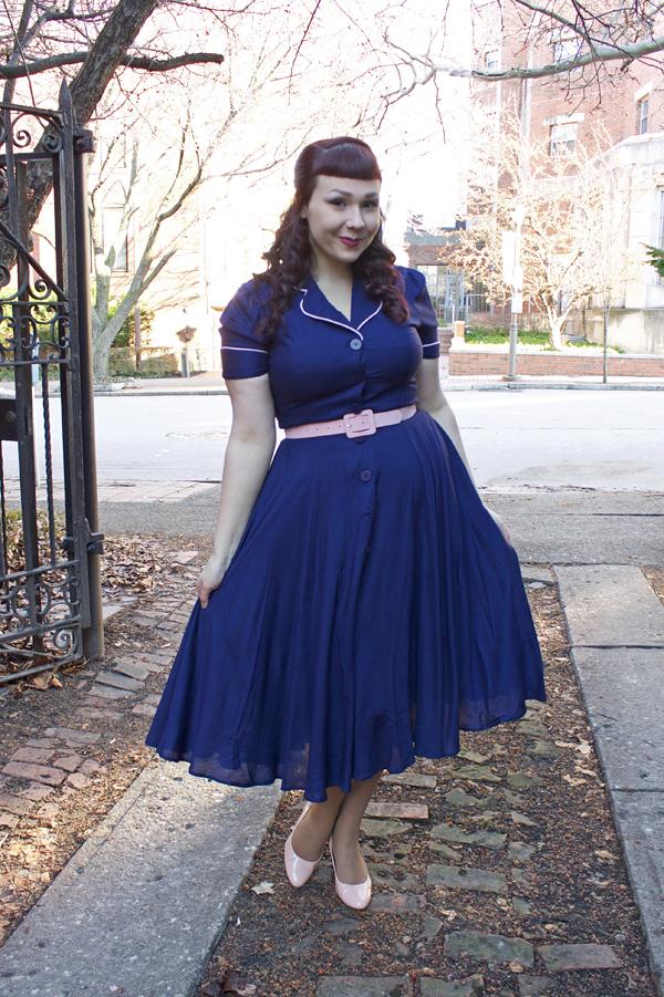 navy 1940s dress