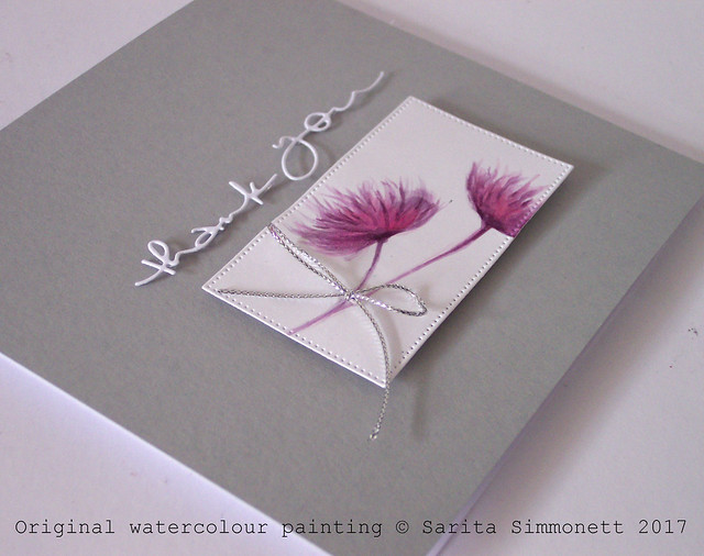 Watercolour flower handmade card 2a