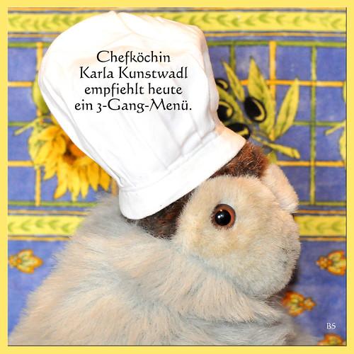 Chefköchin Karla Kunstwadl kocht ein farbenfrohes 3-Gang-Menü: Antipasti aus gebratener Paprika und Auberginenscheiben - Garnelenspießchen mit Algensalat - Ziegenkäse und Karambola. Guten Appetit ... Fotos: Brigitte Stolle, Mannheim
