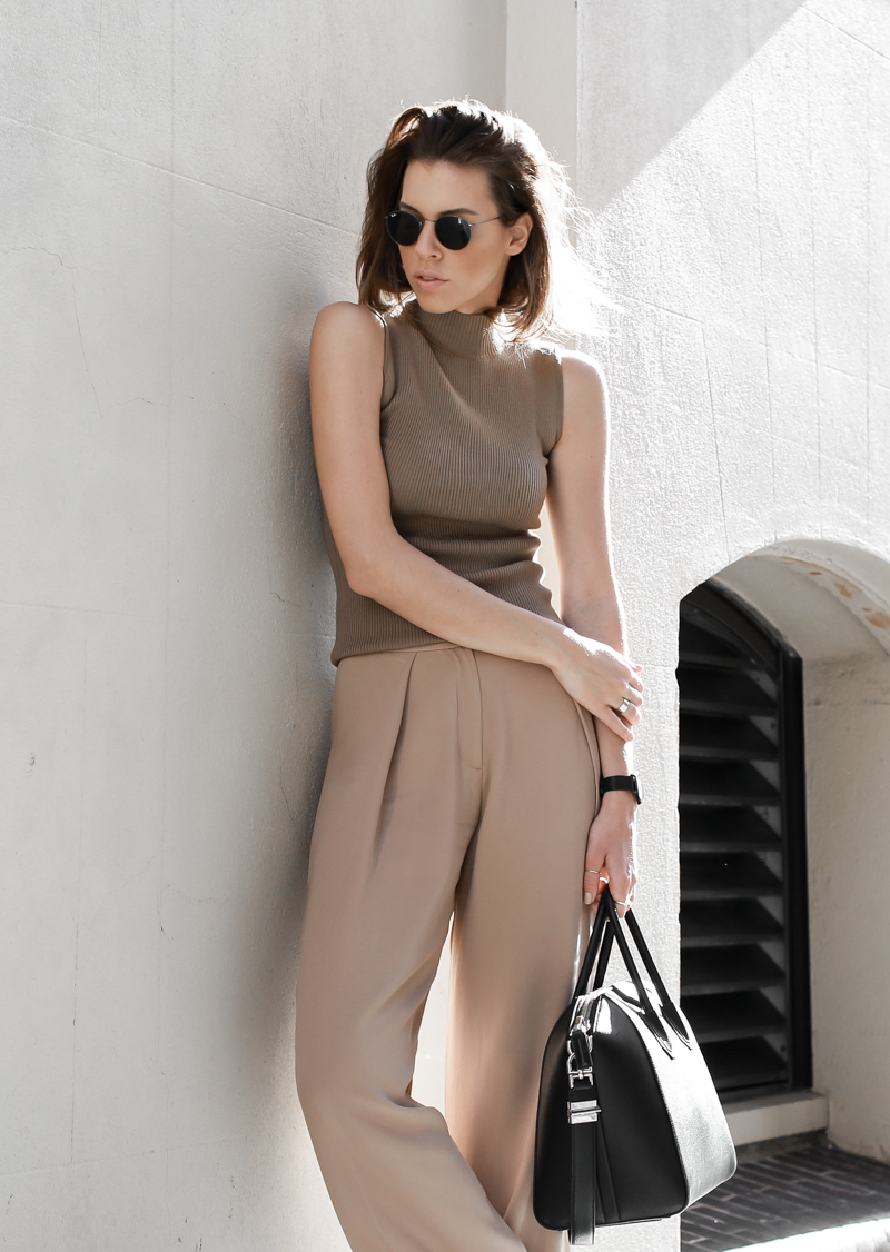 modern legacy, fasion blog, street style, neutral, tan, SABA, sneakers, Givenchy Antigona, wide leg pants, round Ray Bans (1 of 1)