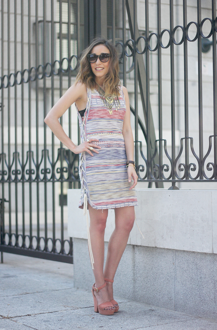 Dress with stripes pink wedges 20