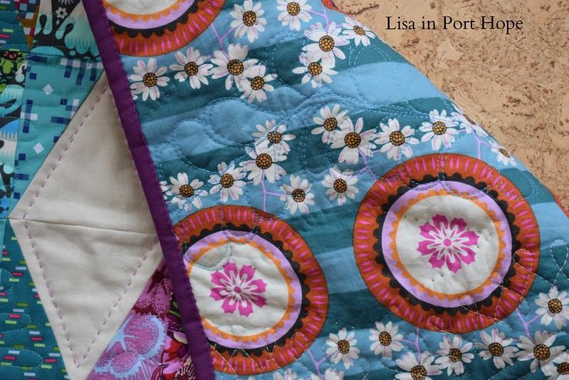 back of AMH diamonds mini quilt