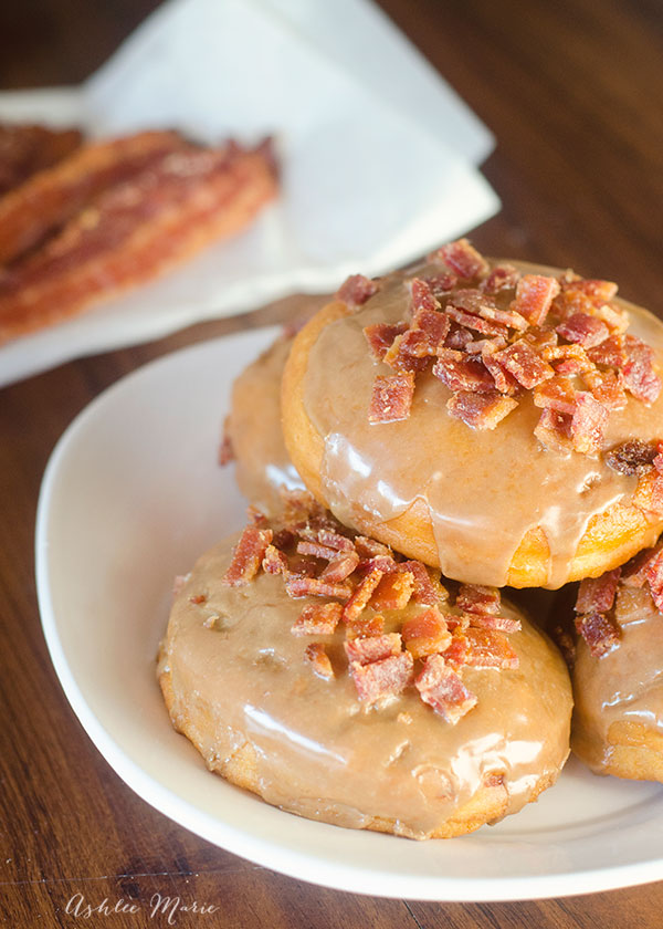 maple glazed donuts filled and topped with chopped candied bacon