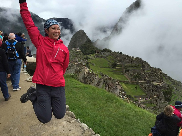 Mei jumping for joy at Machu Picchu.