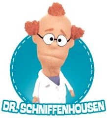 A character from the video, Dr. Schniff