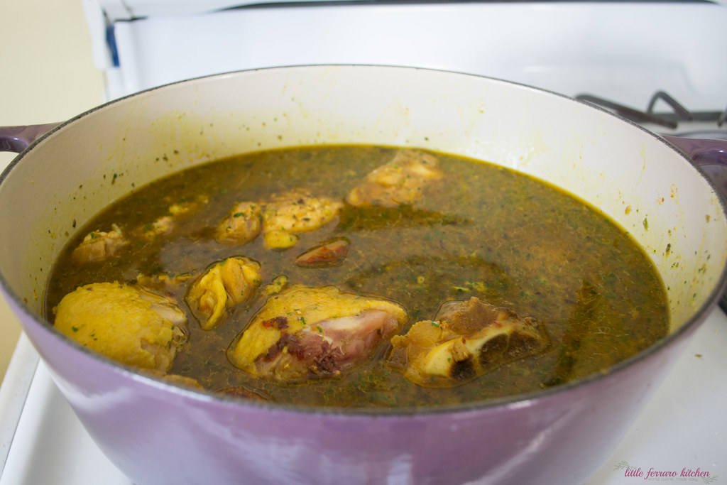For this sancocho recipe, Next, add sofrito, chicken bouillon and water and bring to a boil, then simmer until chicken cooked through.
