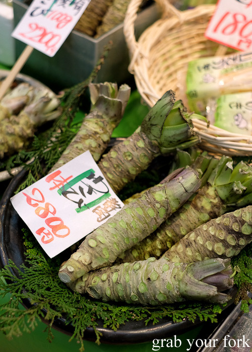Fresh wasabi at Kuromon Ichiba Market in Osaka, Japan