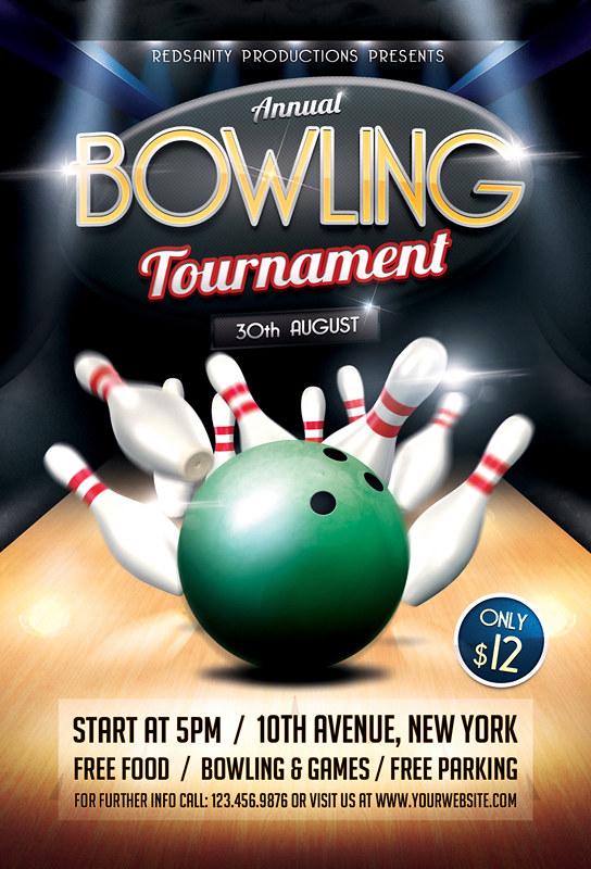 Bowling Tournament Flyer Template Download The Photoshop F Flickr